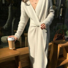 Gorgeous White Belted Cashmere Sweater Dress - V Neck - One Size