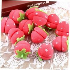 12x Strawberry Balls Hair Care Soft Sponge Rollers Curlers Lovely DIY Tool MG