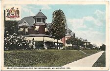 Beautiful Homes Along the Boulevard in Wilmington DE Postcard
