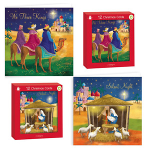 Religious Contemporary Christmas Greeting Cards - 2 Designs - Pack of 12