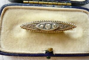 VINTAGE ANTIQUE JEWELLERY GOLD METAL SWEETHEART BROOCH PIN BRS