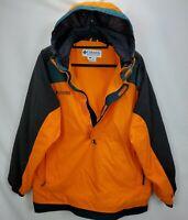Vintage Columbia Mens Anorak Ski Snowboard Jacket Coat Large Orange Hooded  Zip