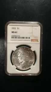 1922 P Peace Dollar NGC MS61 UNCIRCULATED SILVER $1 Coin PRICED TO SELL!
