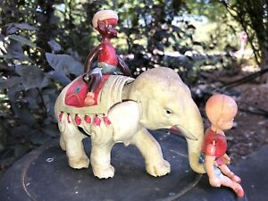 Vintage White Elephant (Circus Henry) w Riders Celluloid Wind-up Toy Japan