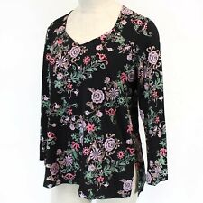 Antthony HSN Black Floral Stretch Top Blouse Plus size 1X