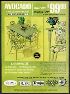 1969 Chromcraft avocado green dinette set table chairs vintage print ad