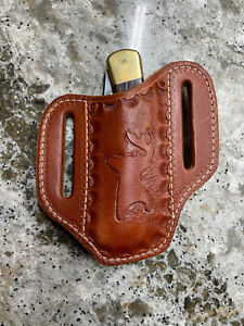 Custom Made to fit a Buck 110 Pancake Style Natural Leather knife Sheath