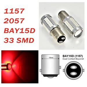 Red Parking Light 1157 2357 3496 7528 BAY15D 33 SMD LED Bulb A1 For Acura L