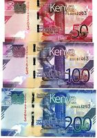 REPLACEMENT - Kenya P new 50-100-200 Shillings  - UNC  - Pick New 2019