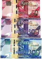 REPLACEMENT - Kenya P new 50-100-200 Shillings  - UNC  - Pick New 2019