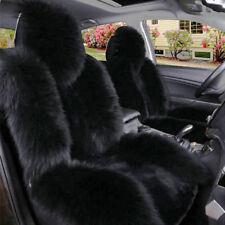 Black Premium Quality Australian Sheep Skin Car Long Wool Front Seat Covers Pad