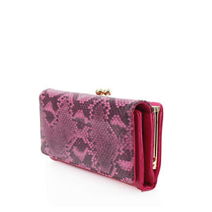 Ladies Snakeskin Print Long Card Wallet Twist Clasp Women Flap Purse Pouch K203L