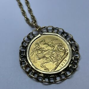 """9ct Yellow Gold Necklace with a 22ct Gold Full Sovereign Pendant 24"""" Long 17.1g"""