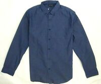Banana Republic Men Shirt Slim Fit Chambray Dobby Dot Blue Large Med Long Sleeve