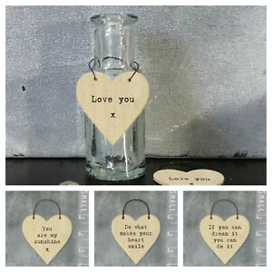 East of India Tiny Miniature Wooden HEART Messages Plywood Gift Tags Keepsake