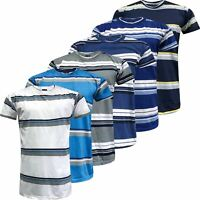 New Mens Striped T-Shirt Short Sleeve Crew Neck Summer Casual Cotton Top S-3XL