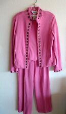 Bloomingdales  Sharp Pink  Suit  Cotton Knit  3 Pc Shell Jacket Pant  M