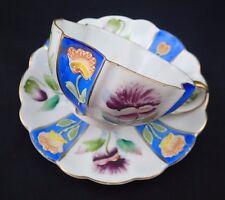 Vintage Merit Tea Cup Saucer Set Made in Occupied Japan Blue