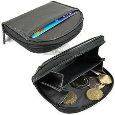 Real color negro de cuero cremallera Monedero Billetera bandeja de bolsillo frontal Bolsa Titular de crédito
