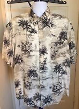 Roundtree & Yorke Mens Button-Up Hawaiian Shirt Size Large 100% Silk