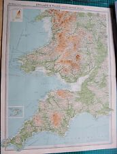 1922 LARGE ANTIQUE MAP- ENGLAND & WALES-SOUTH WESTERN SECTION