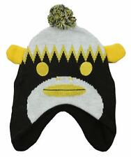 Outerstuff Pittsburgh Steelers NFL Youth Sock Monkey Knit Hat with Pom, Black