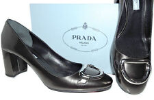 PRADA Anthracite Patent Leather Mid- Chunky Heel Silver Buckle Pump 40 - 9 New