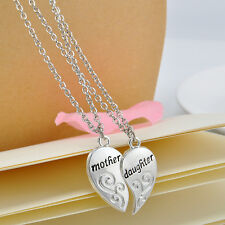 2PC Personalized Split Heart Mother Daughter Pendant Silver Chain Necklaces Gift
