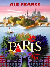 Paris France French Vintage Airline Travel Advertisement Art Poster Print