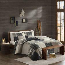 Beautiful Modern Classic Cozy Lodge Hunting Log Cabin Grey Beige Plaid Quilt Set