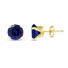 Simulated Blue Sapphire Round Stud Earrings - Gold Plated Silver - September