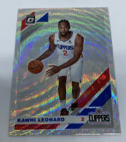 2019-20 Optic KAWHI LEONARD Silver Wave Prizm Refractor SP Clippers #30