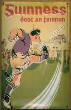 "Guinness Irish Gaelic Footballer old advert poster metal sign LARGE 12"" x 8"""