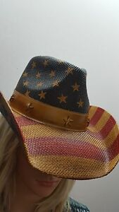 Toyo Vintage American Flag Star Studded Straw USA Cowboy Hat NWT FREE Shipping!