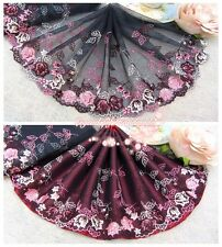 """7""""*1Y Embroidered Tulle Lace Trim~Deep Navy Blue+Pink+Burgundy~Glamorous Stage~"""