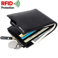 Men Short Zipper Wallet RFID Theft Protection Soft PU Leather Bifold Wallet