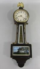 Banjo Wall Clock Wind Up Banjo Eagle Antique - Repair
