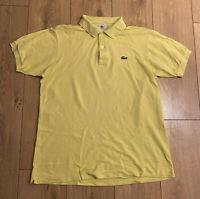 Lacoste Men's Polo T Shirt Yellow Size 4 Medium Short Sleeve Cotton *Damaged*