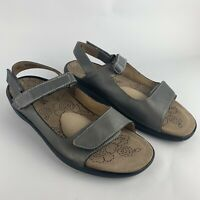 Kumfs Women's Sandals with High Arch Support Size 11 Gray Ankle Straps