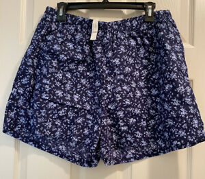 NWT LANE BRYANT CACIQUE SLEEP SHORTS LOUNGE WEAR SIZE 14 16 BLUE FLORAL WFH