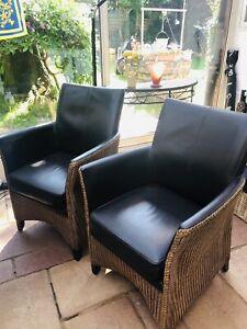 2 x Sessel Stühle Lounge Sessel  Hochlehner Lloyd Loom mit Echtleder-Polsterung