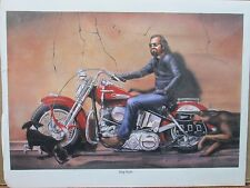 Vintage David Mann Motorcycle and Dog Against Wall E31