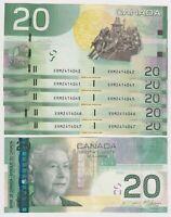 Canada $20  (2004/2008) BC-64b -  AU Banknotes ** Prefix ERM/ERN ** ✹DB L30✹