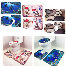 3Pcs/Set Bathroom Non-Slip Pedestal Rug + Lid Toilet Cover + Bath Mat Home Decor