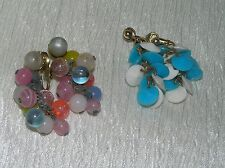 Vintage Lot of 2 Turquoise Blue & White Plastic Disk Pastel Beads Cluster Dangle