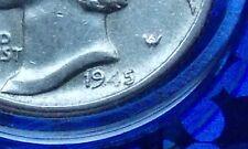 ( MISSING/Weak STRIKE number 4 ERROR IN 45,  USA Au 1945 Mercury Dime, SILVER