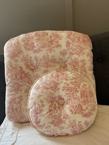 pink toile handmade pillow and cushion rocker chair nursery french country