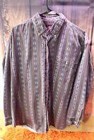 Jordache Vintage Large Maroon Stripe Long Sleeve Cotton Men's Shirt