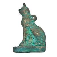 Antique Egyptian Sphinx Cat Figure Rare God Pharaoh Mummy Hieroglyphics Brass