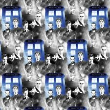DR WHO - 4 Different Dr Whos - Tardis  - Cotton Fabric - FQ-1/4yd